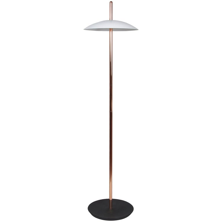 White and Copper Signal Floor Lamp from Souda, Made to Order