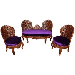Anglo-Raj Settee and Side Chairs Suite