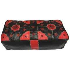 Large Vintage Moroccan Red and Black Leather Rectangular Ottoman
