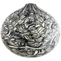 Velato Strata Murrine Bronze Ivory Low Round Vase, Handblown Glass