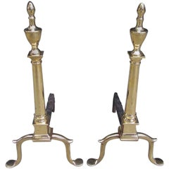 Pair of American Brass and Wrought Iron Urn Finial Andirions, Phila. Circa 1780