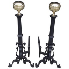 Pair of American Brass and Cast Iron Ball Finial Scrolled Andirons. Circa, 1850