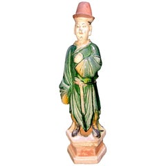Elegant Ming Dynasty Court Attendant, Glazed Terracotta - China '1368-1644 AD'