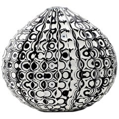 Black and White Mokume Battuto Low Flat Oval Vase, Handblown Glass