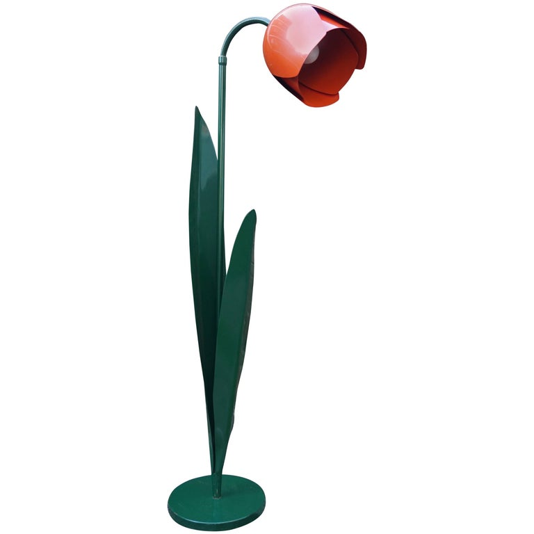 Rare Pop Art Tulip Floor Lamp in Green and Red Painted Metal by Bliss UK 1980s
