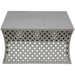 White Marble Square Jali Cocktail Table