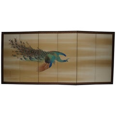 Six-Panel Peacock Folding Screen by Hirai Chokusui