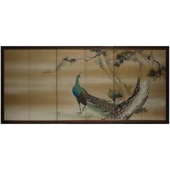 Six-Panel Peacock Folding Screen by Hirai Chokusui