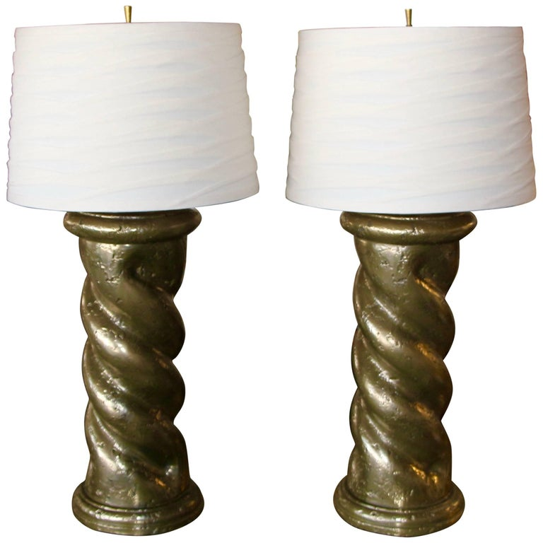 Bronze Metal Coated Plaster Rope Lamps in the Style of Michael Taylor