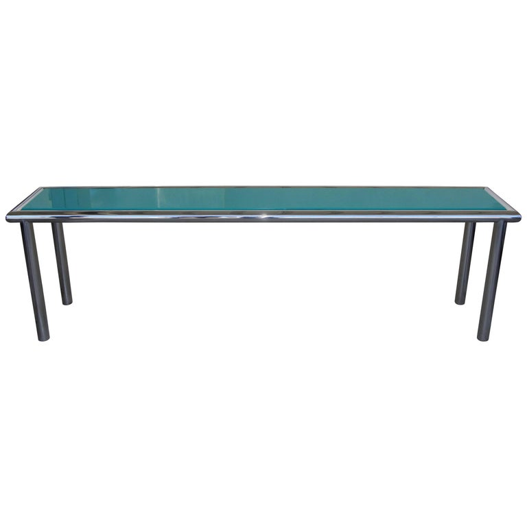 Chrome and Lacquer Long Sofa Table Console