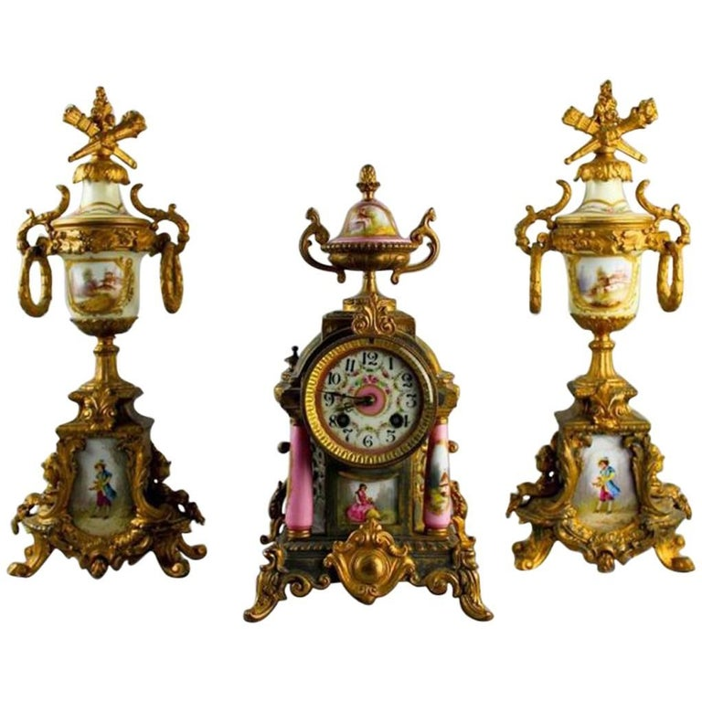 Louis XVI Style and Ormolu Three-Piece Clock For Sale