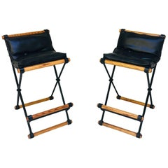 Pair of Cleo Baldon Bar Stools in Wrought Iron and Oak for Terra 1960s