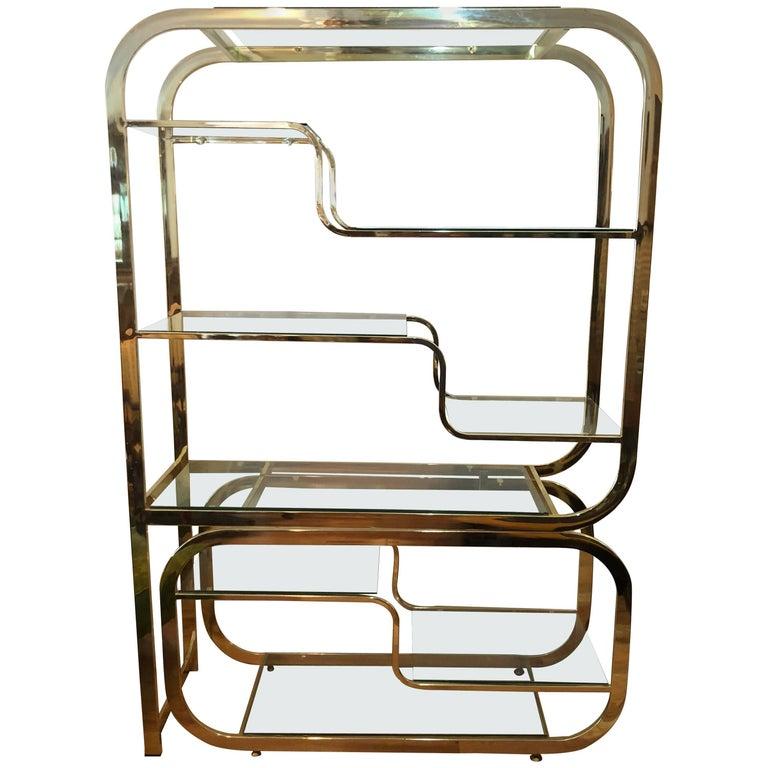 Milo Baughman DIA Style Brass and Glass Étagère