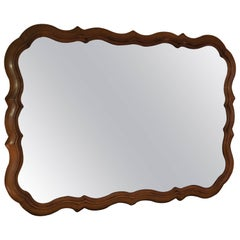 Large Scalloped Fruitwood Mirror