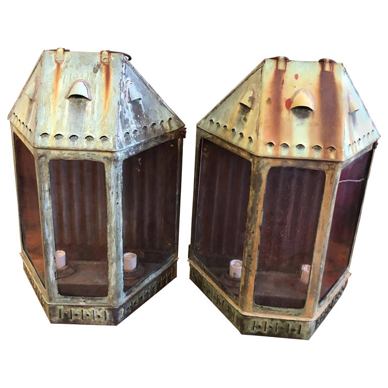 Pair of Large Antique Copper Lanterns