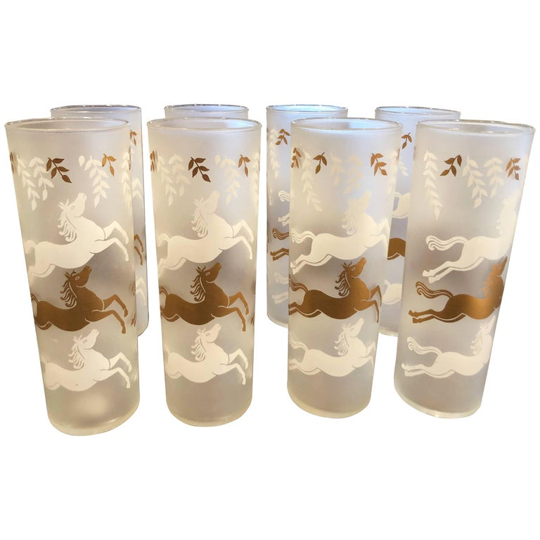 Set of Mid-Century Modern Frosted Horse High Ball Glasses