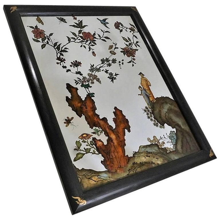 Chinese Reverse Painted Mirror, La Barge, circa 1980s, American