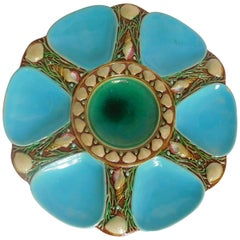 Minton Majolica Oyster Plate in Turquoise and Green, England, 1868