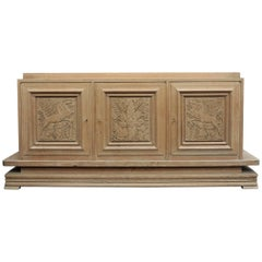 Three Doors Oak Credenza Cabinet, circa 1940