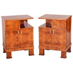 Pair of Czech Art Deco Bed-Side Tables, High Gloss, Walnut, Elm Zebrano