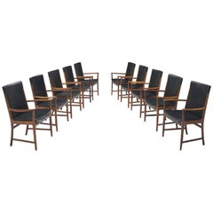 Kai Lyngfelt-Larsen Set of Ten Dining Chairs in Leather and Rosewood