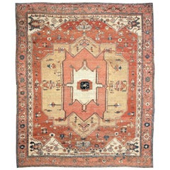 Antique Persian Heriz Serapi Rug Masterpiece