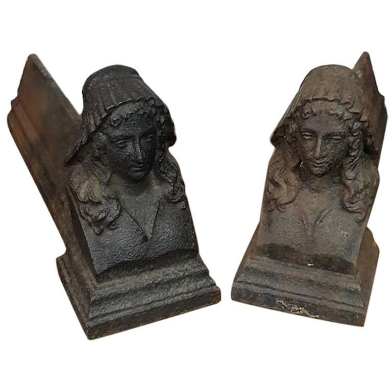 Early 20th Century French Cast Iron Andirons with a Female Bust
