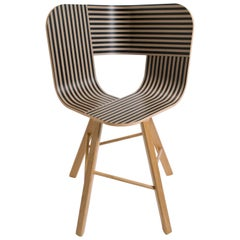 Tria Wood 4 Chair, Stripes Veneered Coat; Design Icon Inspired to Graphic Art