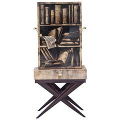 Aldo Tura Goatskin Books Bar Cabinet