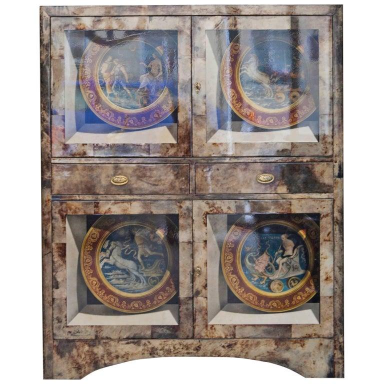 Aldo Tura Trompe L'Oeil Bar Cabinet, Italy, 1960 For Sale