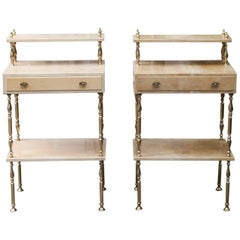 Aldo Tura Cream Goatskin Nightstands Set of Two