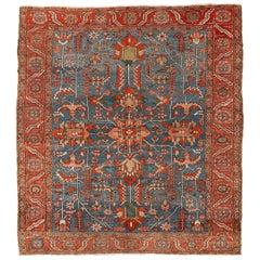 Antique Light Blue Persian Square Heriz Rug