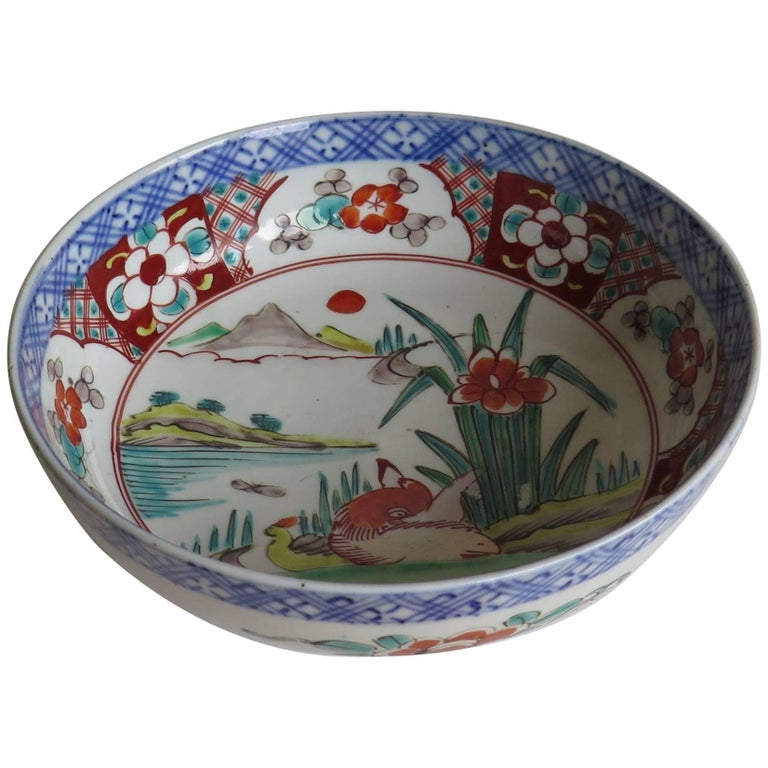 Japanese Porcelain Footed Bowl Hand-Painted Polychrome Water Side Scene For Sale