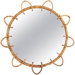 Spanish 1960s Handcrafted Bamboo and Rattan Round Flower Shaped Mirror