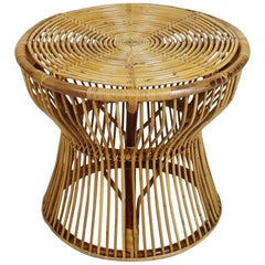 Italian Midcentury Bamboo and Rattan Side Table by Bonacina