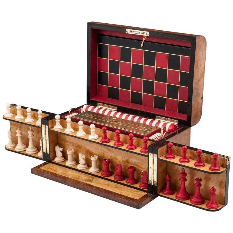 Asprey Burr Walnut Games Chess Backgammon Draughts Box Compendium 19th Century