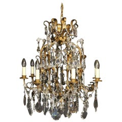 Italian Florentine and Crystal Eight-Light Antique Cage Chandelier