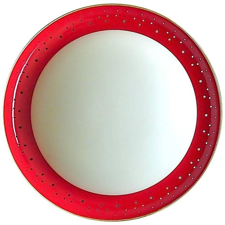 Large Kaiser Flush Mount Red Perforated Brass White Glass Stilnovo Sarfatti Lamp
