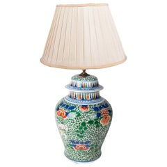 19th Century Chinese Famille Verte Vase or Lamp