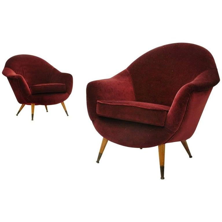 Set of Two Italian Midcentury Red Velvet Armchairs, 1950s