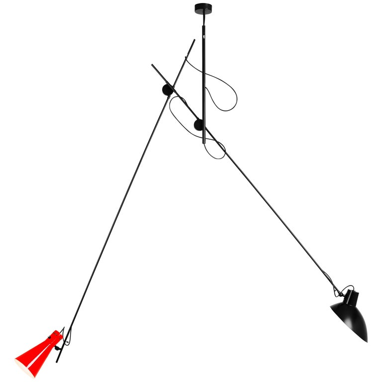 Vittoriano Viganò 'VV Suspension' Lamp in Black and Red For Sale