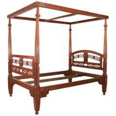 British Colonial Mahogany Four-Poster Bed