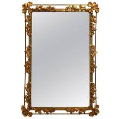1950s Vegetal Decor Gilded Metal Wall-Mounted Mirror