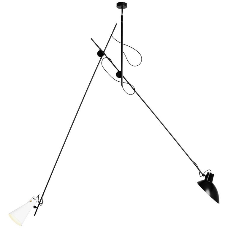 Vittoriano Viganò 'VV Suspension' Lamp in Black and White For Sale