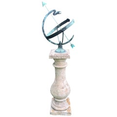 Bronze Serpent Armillary on Tall French Limestone Pedestal