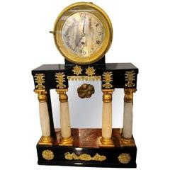 Empire Clock, Alabaster Columns, Black-Polished, Austria/Vienna circa 1815