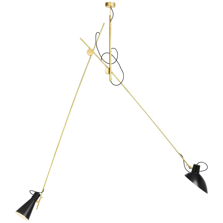 Vittoriano Viganò 'VV Suspension' Lamp in Black and Brass