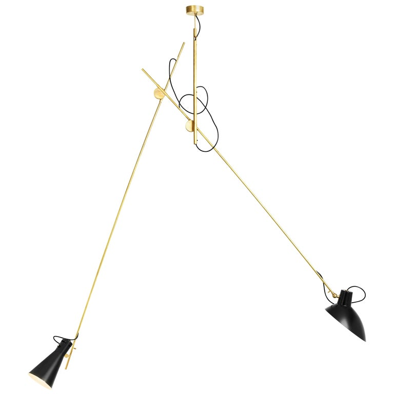 Vittoriano Viganò 'VV Suspension' Lamp in Black and Brass For Sale