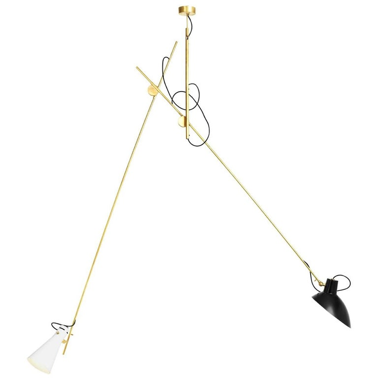 Vittoriano Viganò 'VV Suspension' Lamp in Black, White and Brass