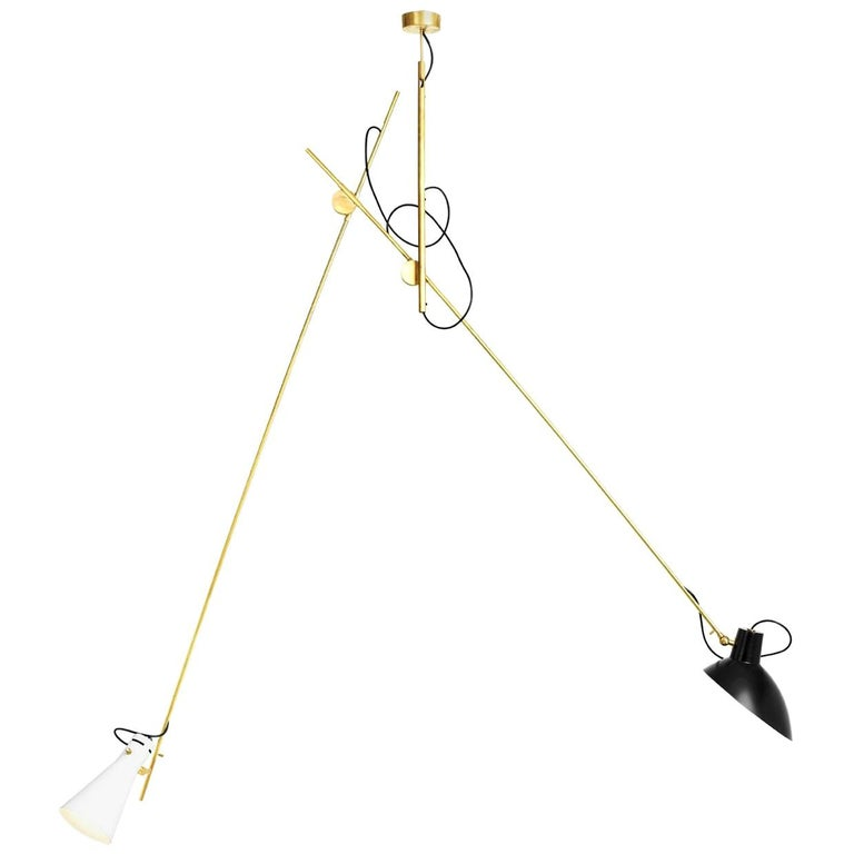 Vittoriano Viganò 'VV Suspension' Lamp in Black, White and Brass For Sale